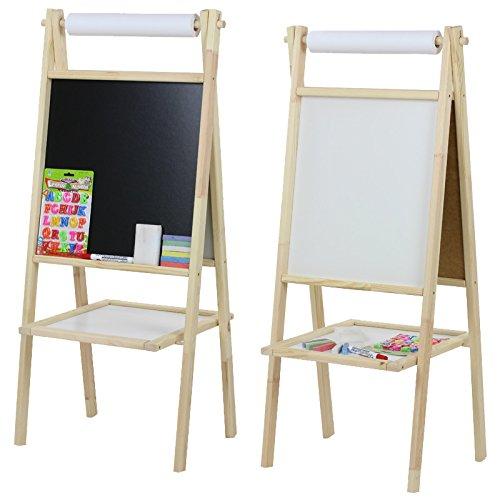 Holz-Standkindertafel mit Papierrolle beidseitig 49x42,5x109cm Kindertafel Tafel Kindermaltafel Standtafel
