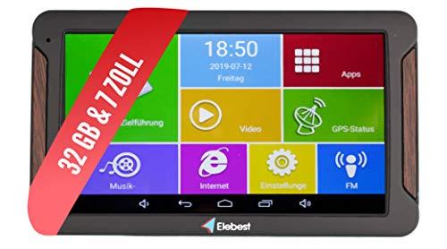 Elebest Pro A600 Navigationsgerät 17,8cm 7 Zoll Display, Android 6.0, WiFi, Radarwarner,Tablet PC, Wohnmobil, LKW, PKW, 32GB Speicher, Bluetooth, Kostenlose Lebenslange Updates