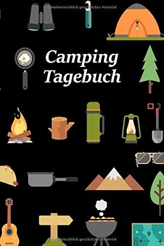Camping Tagebuch: Motiv Camping-Utensilien | Reisetagebuch für Trips mit dem Wohnmobil, Wohnwagen oder Zelt | 100 Seiten zum selber ausfüllen | ... | Journal mit tollen vorgefertigten Feldern