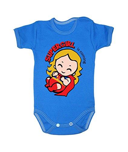 Colour Fashion Body pour bébé à manches courtes 100% coton 0-24 mois 0010 (0-3 mois, 62 cm, bleu)