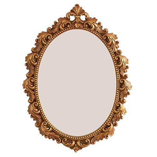 KPL-Mirror Espejo de Pared Vintage de Encaje, Espejo de Maquillaje Ovalado Espejo Decorativo, Espejo de Bandeja, Dorado, 21x28 cm