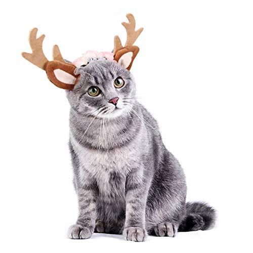 HXHON Hunde-Rentier Geweih Stirnband Katze Weihnachten Kopfbedeckung Elchohren lustiger Kopfschmuck Kostüm Cosplay Dress Up Haarschmuck Festival Party (L)