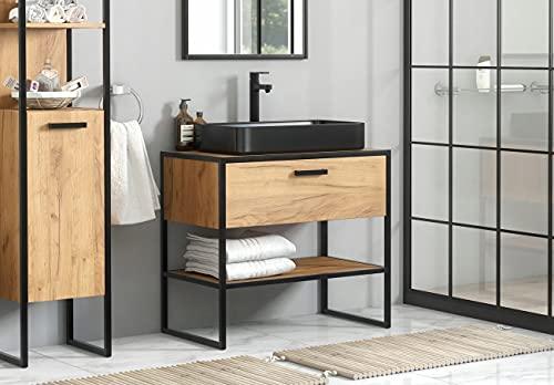 WFL GROUP Mueble Industrial para Lavabo de Encimera - Mueble de Baño con Estructura Metálica - Estilo Loft - Boston - Mueble de Lavabo Independiente - Roble Artesanal Dorado - 90 cm