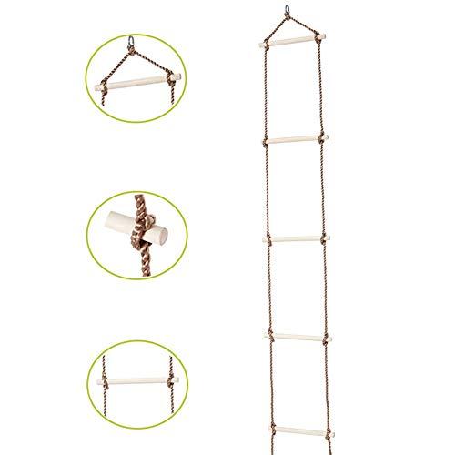 MALY Strickleiter, Spielzeug Holztrapez mit 5 Sprossen für Kinder Klettergerüst Spielzeug Baumhaus Schaukelsitz Holzleiter Outdoor Garten Spielzeug für Kind & Baby