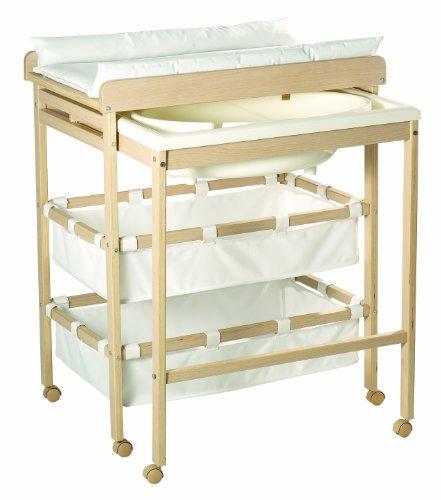 Combinacion bañera cambiador roba 'Baby Pool', bañera con cambiador encima plegable, en madera natural, colchoneta del cambiador en blanco.