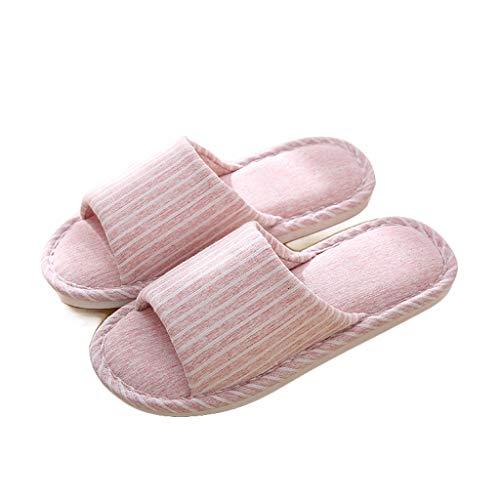 OHQ Zapatillas De Casa Mujer Parejas Casuales Zapatillas Interiores A Rayas...