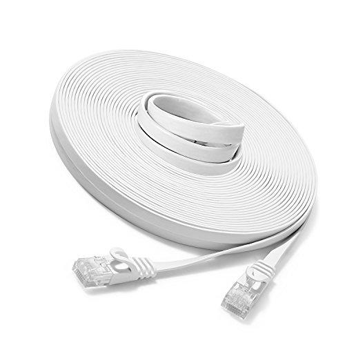 JBSTK 15m - Flachkabel CAT6 | Weiss- 1 Stück | 10/100/1000 Mbit/s | Gigabit LAN Netzwerkkabel