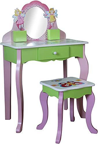 Kinderkleideretisch, Schminktisch, Fairy Dressing Tisch und Stuhlanzug für 3 Jahre alt,Green
