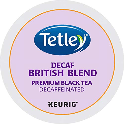 Tetley Decaffeinated Black Tea K-Cup Portion Pack for Keurig Brewers, British Blend, 24 count, Pack of 1