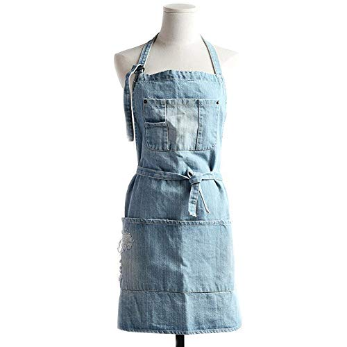 Baiancy Cotton Denim Adjustable Bib Apron with 5 Pockets Cooking Kitchen Aprons Women Men Fashionable Denim Jean Apron for Cafes Lounge Bars Kitchens