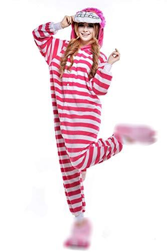 Unisex-Einteiler, Kostüm, Pyjama, für Erwachsene, Frauen, Männer, Tier-Cosplay, Halloween, Hausbekleidung Gr. M ( Höhe 158 cm/ 165 cm), Grinsekatze