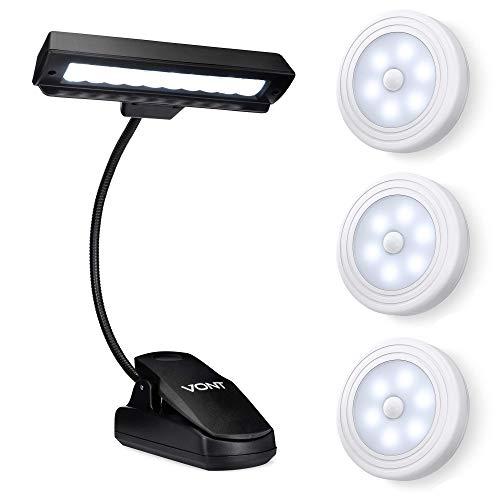 Vont Motion Sensor Lights 3-Pack + 10 LED Clip Light Bundle - Best Wall Light for Hallways, Closet, Bedroom - Must-Have Clip-On Lighting for Studying, Reading, Piano Playing - Sleek, Safe, Smart