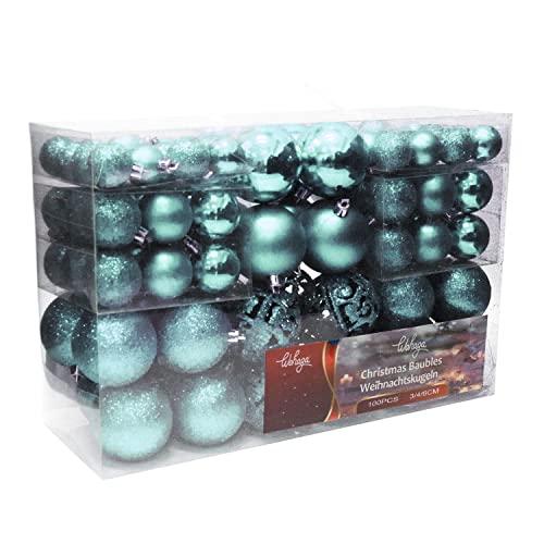 Wohaga Set di palline di Natale per albero di Natale, colore blu ghiaccio Uni, dimensioni: 100