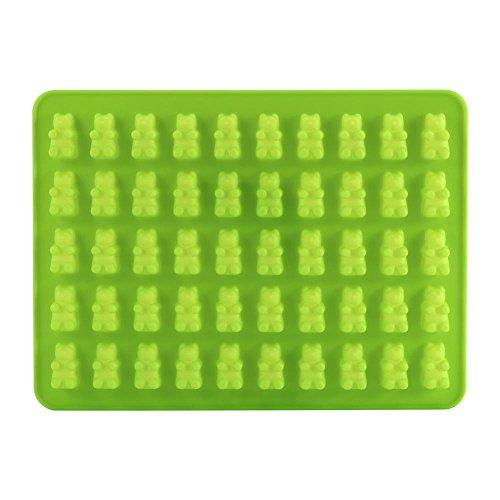 GLOGLOW rubberen vormen siliconen beer snoep chocolade vormenboer voor Jello Gelatine beren niet stok ijsblokjesschaal snoepgoed vormen (groen)
