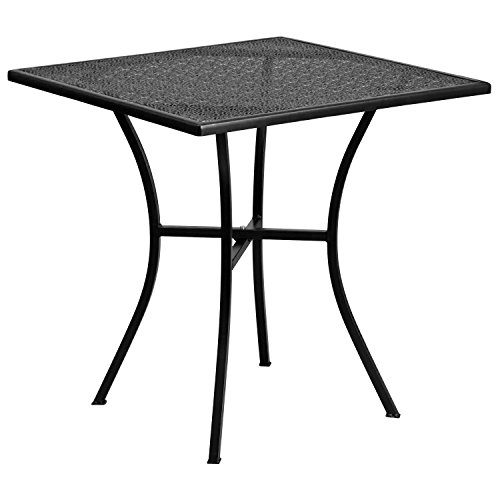 Flash Furniture Commercial Grade 28' Square Black Indoor-Outdoor Steel Patio Table