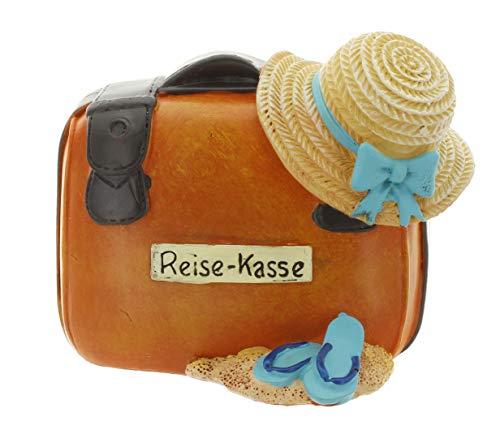 MIK Funshopping Hucha para vacaciones y caja de viaje – Ahorra en tu destino de ensueño – Regalo de dinero (maleta con sombrero)