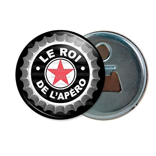 Décapsuleur Aimanté Magnet Le Roi de l'Apéro - Capsule bière Noir Etoile Rouge Humour Repas Boisson n9 Ouvre Bouteille Refrigerateur