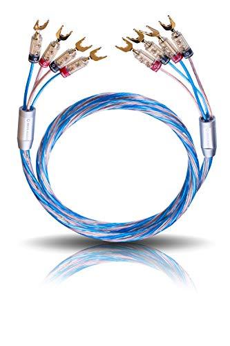 Oehlbach Bi Tech 4.4B 200 - Lautsprecherkabel-Set Bi-Amping versilbert 2x2,5/2x4,0 mm² mit Banana-Verbinder - 2 x 2m - blau/kupfer