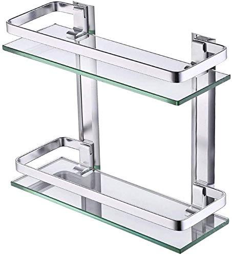 Wandgemonteerde badkamer glazen planken, voor wandmontage in de keuken Etc opslag plank rechthoekige 2 planken Zilver