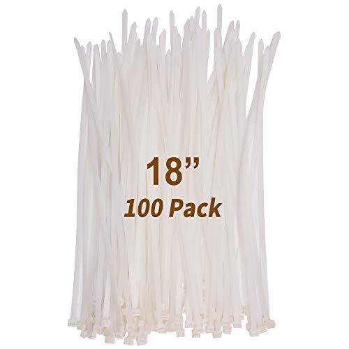 18 Inch Heavy Duty Zip Ties, Industrial Grade Durable Strong Large Nylon Cable Wire Ties, 175 LB Tensile Strength, (100 Pieces, White)