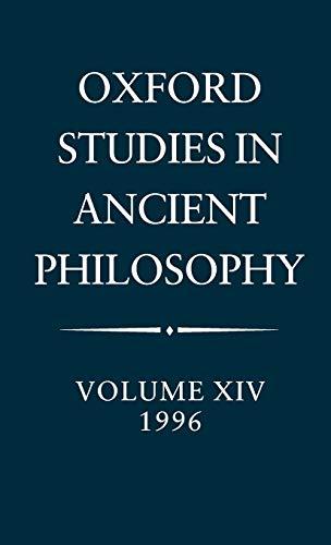 Oxford Studies in Ancient Philosophy: Volume XIV, 1996