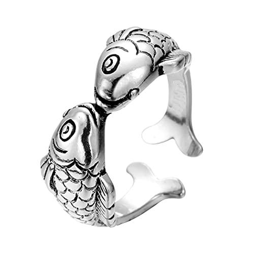 100% plata esterlina 925 moda doble beso pescado mujer dedo anillos promoción joyería mujeres regalo Navidad nunca se desvanecen
