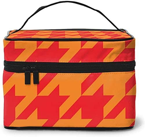 Bolsa de maquillaje grande con diseño de pata de gallo para mujer, portátil, organizador de viaje con cremallera de malla cepillo de bolsillo con asa chica