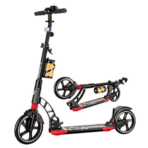 JSZHBC Vespa for niños y Adultos Principiantes Plegable, Ajustable en Altura con la Grande Ruedas de la PU Suave, Kick Scooters Freestyle Viajero Adulto Scooter clásico (Color : Black)
