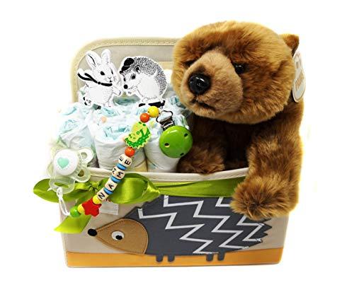 Elfenstall Windeltorte Pamperstorte 3 Sprouts Windelutensilo gefüllt mit Windeln der Marke Babylove, süssem Kuscheltier, Wandhaken sowie Schnullerkette mit Schnuller