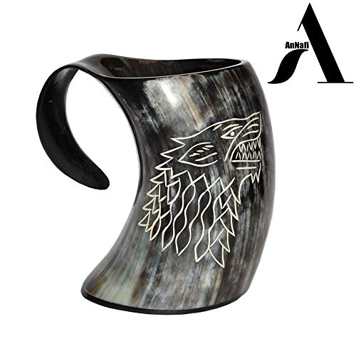 AnNafi Vikings Valhalla's Game of Thrones Stark House Viking Drinking Horn Mug Wolf Carved tankard for Beer Wine Mead ale
