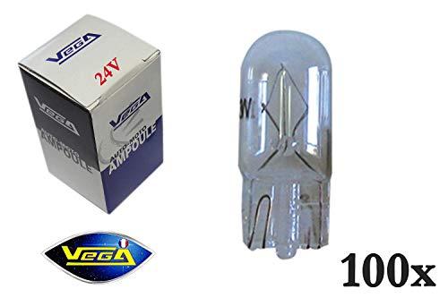 VEGA 100 Ampoules W5W T10 Halogène Maxi 24V