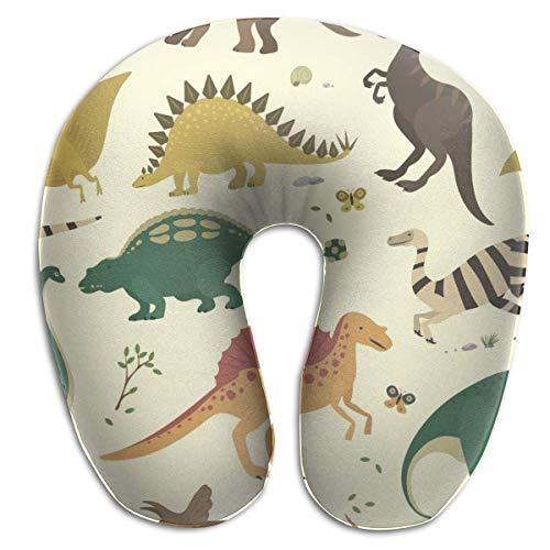 Hdadwy Almohada de Viaje de Dinosaurio de Colores Vintage en Forma de U, Suave y cómoda Almohada de Espuma viscoelástica para el Cuello para niños y Adultos