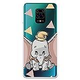 Funda para Xiaomi Redmi Note 9S - Note 9 Pro Oficial de Dumbo Dumbo Silueta Transparente para Proteger tu móvil. Carcasa para Xiaomi de Silicona Flexible con Licencia Oficial de Disney.