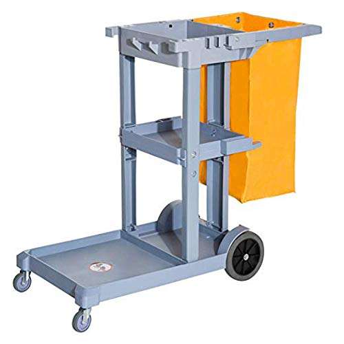 HomCom 3 Shelf Cleaning Rolling Janitor Cart with 25 Gallon Vinyl Bag