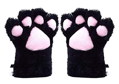 A&S Creavention Women Cat Bear Claw Paw Mitten Plush Glove Costume (Black)