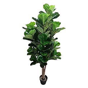 AMERIQUE Gorgeous & Dense 5′ Fiddle Leaf Fig Tree Artificial Silk Plant with UV Protection, with Nursery Plastic Pot, Feel Real Technology, Super Quality, Green