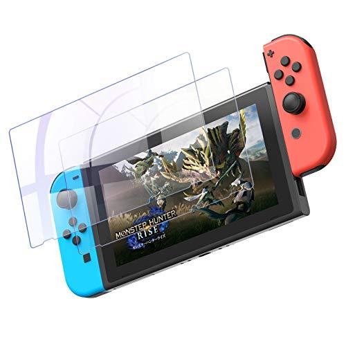 YOSH 2枚入り Nintendo Switch用 保護フィルム 気泡なし 簡単に貼れる ガラスフィルム ブルーライト95%カット日本硝子素材 硬度9H 高透過率0.26mm 飛散防止 指紋防止 気泡ゼロ 貼付道具付 自己吸着 撥水撥油