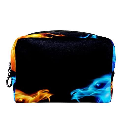 Neceser de Maquillaje para Neceser Estuche de Viaje cosmético Organizador Estuche para cosméticos Monedero,Dragón Enojado de Fuego de Hielo