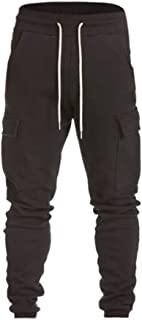 Sunhusing Men's Casual Harem Sweatpants Lace-Up Trousers Personalized Side Pockets Baggy Jogger Pants