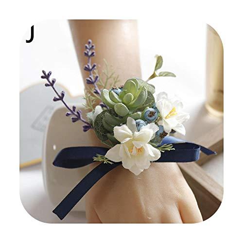 Art Flower Fashion Wrist Flowers Bracelet Artificial Flower Bride Corsage Wedding Decoration Groom Bridemaid Boutonniere Hand Flower-J-