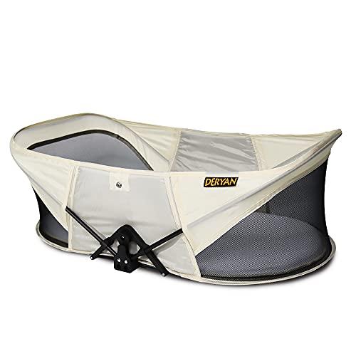 Deryan Reisebett für Babys - Leicht - Portable Reisebettzelt - Zweipunkt-Sicherheits-T-Lock-System - Mit Moskitohaube, Matratze und Tasche - Atmungsaktives Netz - Baby Reisebett - Sahne
