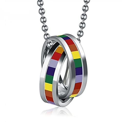 Astemdhj Collares para Hombre Colgantes Joyería Collar Arco Iris Colgante De Acero Inoxidable Doble Bucle para Cadena De Mujer