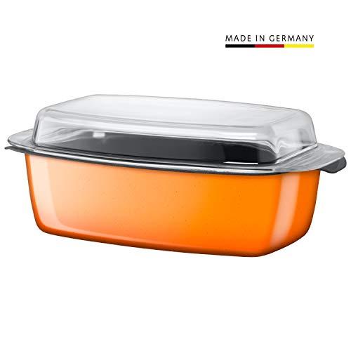 Silit Passion Orange Bräter, mit Glasdeckel 32 x 21 x 15 cm, Silargan Funktionskeramik, induktionsgeeignet, backofenfest, Auslaufmodell, orange, 5,3 l