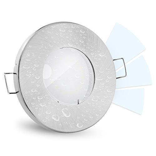 linovum® fourSTEP Einbaustrahler LED Bad flach dimmen ohne Dimmer - LED GU10 5W neutralweiß 230V - Einbauspot IP65 gebürstet