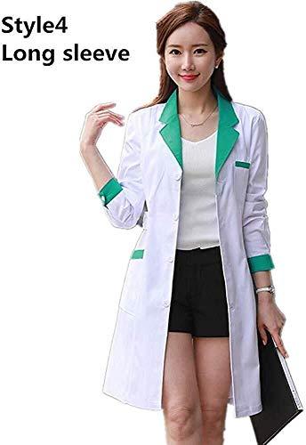 Miaoao-HL Dames Contrast getrimd met V-hals Gezondheidszorg, medische tandarts en werkkleding