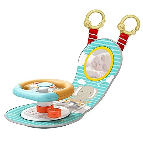 DealMux Juguetes para volante, juguetes para actividades en el coche, simulación de volante de coche para niños, asiento trasero de coche, juguetes para volante, educación musical, conducción para ni