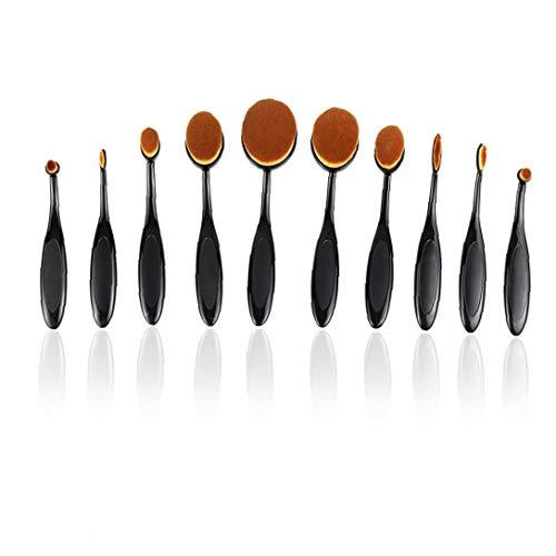 fedsjuihyg Make-up-Pinsel-Set Soft-Oval Zahnbürste Shaped Foundation Contour Pinsel Powder Blush Conceler Eyeliner Blending Bürsten-kosmetische Bürsten-Werkzeug-Set, 10PCS