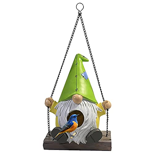 YUEGE Swinging Gnome Birdhouse Hanging Hummingbird Nest House for Outside Swing Dwarf Goblin Poultry House Aviary, Perfect Bird House for Outdoor Indoor Garden Patio Lawn Office Decor (C)