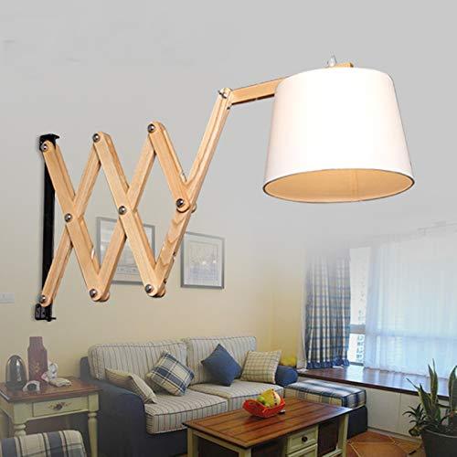 Wandlamp Nordic Apartment Decor wandlamp uitschuifbaar van hout woonkamer creatieve wandlamp van houten studiolamp met LED-lamp