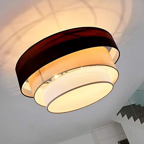 Depuley Lámpara de techo LED, altura regulable, tambor, lámpara colgante Nordic de 3 capas, casquillo E27, lámpara colgante para comedor, lámpara de techo para dormitorio, cocina, balcón, salón